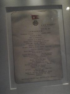 titanic dining room set menu